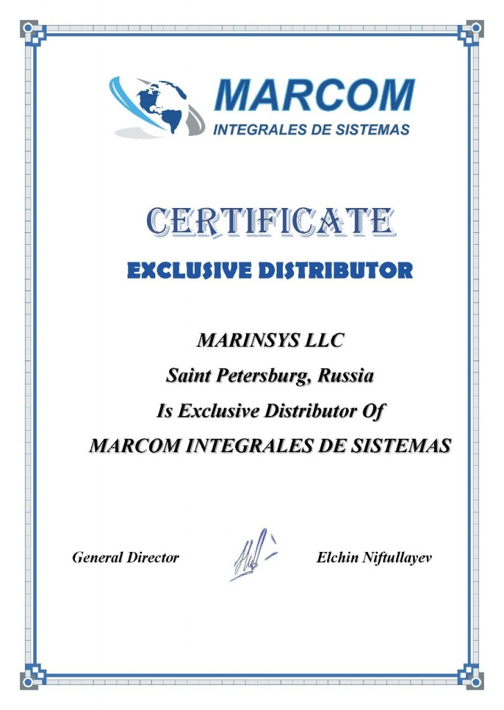 Authorization certificate from MARCOM INTEGRALES DE SISTEMAS, S.L.